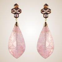 New Rhodolite Morganite Garnet Rose Gold Dangle Earrings