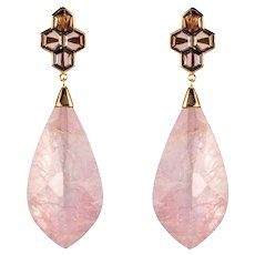 New Rhodolite Morganite Garnet Rose Gold Dangle Earrings