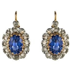 French 20th Century 2 Carat Sapphire Diamonds Drop Earrings