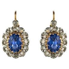 French 20th Century 2 Carat Sapphire Diamonds Drop Earrings