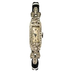 French 1930s Platinum 18 Karat White Gold Diamond Art Deco Lady Watch