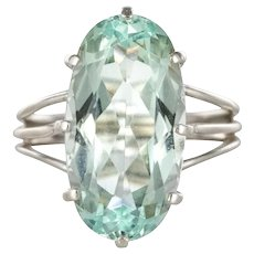 French 1970s 7 Carat Aquamarine 18 Karat White Gold Cocktail Ring