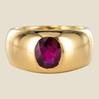 French 1911s Non Heated Burmese Ruby 18 Karat Yellow Gold Bangle Ring