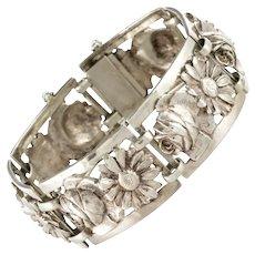 French 1900s Belle Époque Flowers Silver Bracelet