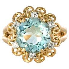 French 1960s 3.35 Carat Aquamarine Diamond 18 Karat Rose Gold Ring