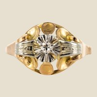 1940s Retro Diamond 18 Karat Yellow Gold Ring