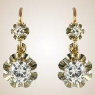 1930s Diamonds 18 Karat Rose White Gold Sleepers Earrings