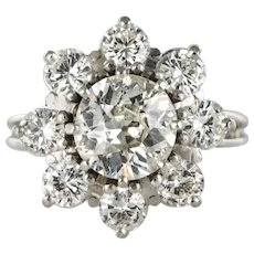French 1970s Retro 18 Karat White Gold Platinum Diamond Cluster Ring