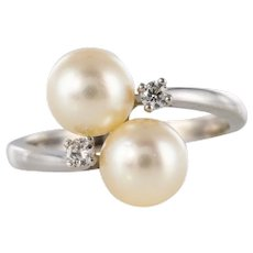 Modern Cultured Pearls Diamonds 18 Karat White Gold You and Me Ring
