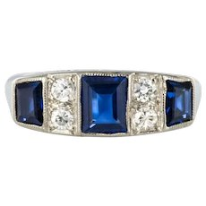 1930s Art Deco 1.69 Carat Sapphire Diamonds White Gold Garter Ring