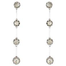1920s Platinum 18 Karat White Gold Diamond Dangle Earrings
