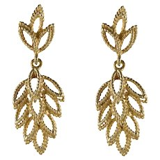 1960s 14 Karat Yellow Gold Leaf Shaped Dangle Earrings