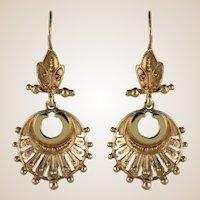 1960s 14 Karat Yellow Gold Dangle Earrings