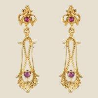 1960s 14 Karat Yellow Gold Pink Stone Dangle Earrings