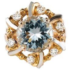 French 1960s 3.25 Carat Aquamarine 18 Karat Rose Gold Ring