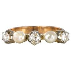 1900s Natural Pearl Diamonds Rose Gold Garter Ring