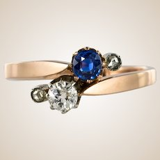 """19th Century French """"You and Me"""" Sapphire Diamond 18 Karat Rose Gold Ring"""