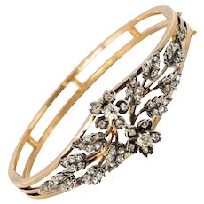 French Napoleon 3 Diamonds Rose Gold Silver Bangle Bracelet