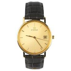 1960s Etrena 18 Karat Yellow Gold Leather Bracelet Men Wristwatch