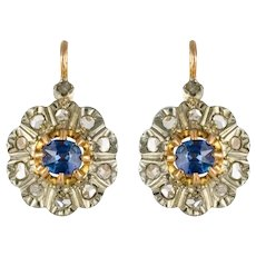 1880s French Napoleon 3 Rose-Cut Diamonds Sapphire Sleepers Earrings