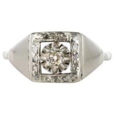 French 1930s White Gold Platinum Diamond Art Deco Ring