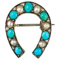 Napoleon III Turquoise Natural Pearl 18 Karat Yellow Gold Horseshoe Brooch