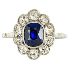 French 1920s Diamonds Sapphire Platinum Art Deco Daisy Ring