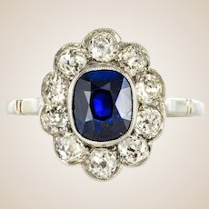 French 1920s Diamonds Sapphire Platinum Art Deco Daisy Ring