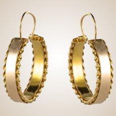 1960s French 18 Karat Yellow Gold Hoop Earrings
