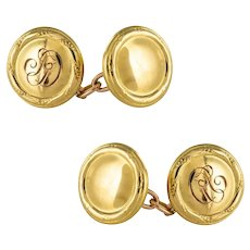 1960s Retro 18 Karat Yellow Gold Round Shape Cufflinks