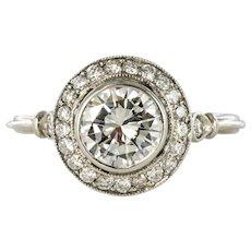 Art Deco Style 1.06 Carat Diamond Platinum Round Ring