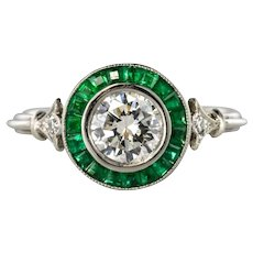Art Deco Style Calibrated Emerald Diamonds Platinium Cluster Ring