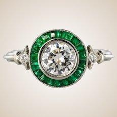 Art Deco Style Calibrated Emerald Diamonds Platinium Cluster Ring