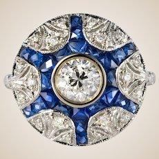 Calibrated Sapphire Diamonds 18 Karat White Gold Ring