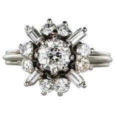 1970s Retro Brilliant Diamonds Baguette Diamonds Platinum Ring