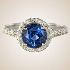 French 2.26 Carat Royal Blue Ceylon Sapphire Diamonds Ring