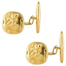 French 1900s Art Nouveau 18 Karats Yellow Gold Cufflinks