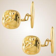 French 1900s Art Nouveau 18 Karats Yellow Gold Cufflinks