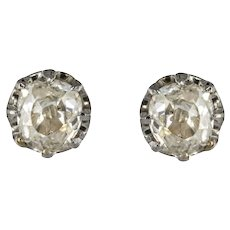1900s Antique-Cut Diamond 18 Karat Yellow Gold Stud Earrings