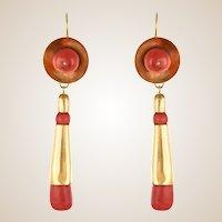 20th Century Italian Yellow Gold Coral Dangle Earrings