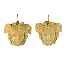 1900s Medusa Lava Stone Cameo Dangle Earrings