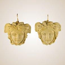 1900s Medusa Lava Stone Cameo Dangle Earrings