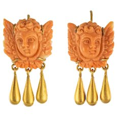 20th Century Italian Yellow Gold Coral Cherub Shape Earrings