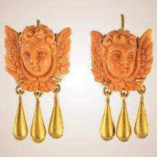 20th Century Italian Yellow Gold Coral Cherub Shape Earrings