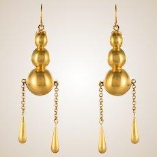1900s Italian Pearls Drops of Gold Dangle Earrings