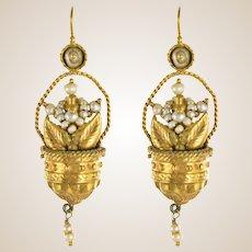 20th Century Italian Yellow Gold Natural Pearl Basket Shape Dangle Earrings