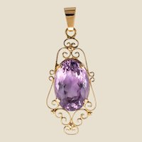 French 19th Century 16.5 Carat Amethyst 18 Karat Rose Gold Pendant
