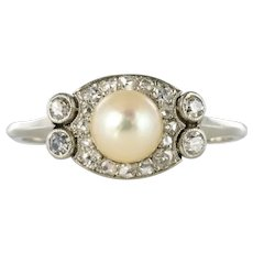 1925s Natural Fine Pearl Diamonds Platinum Art Deco Ring