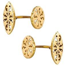 French 1900s 18 Karat Yellow Gold Antique Cufflinks