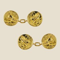French 1900s Art Nouveau Lily Flowers 18 Karat Yellow Gold Cufflinks